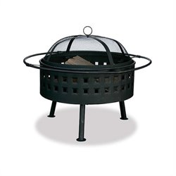 24 Inch Aged Bronze Wood Burning Fire Pit with Square Design