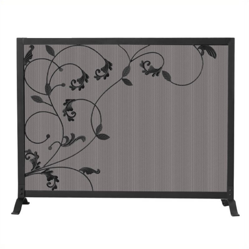 Single Panel Black Screen with Flowing Leaf Design
