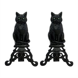 Black Cast Iron Cat With Reflective Glass Eyes