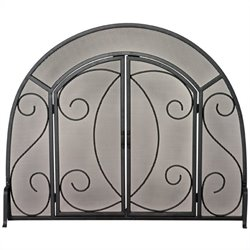 Single Panel Black Wrought Iron Ornate Screen With Doors