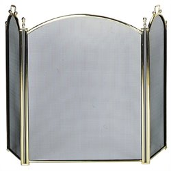 3 Fold Large Diameter Polished Brass Screen with Woven Mesh