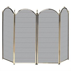 4 Fold Polished Brass Screen