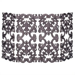 4 Fold Bronze Cast Aluminum Fireplace Screen