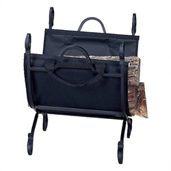 Black Log Holder with Canvas Carrier