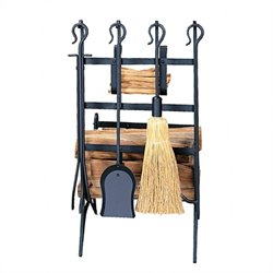 Black Log and Kindling Rack with Firetools