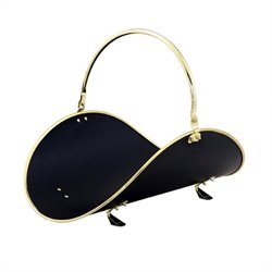 21 Inch Polished Brass/Black Woodbasket