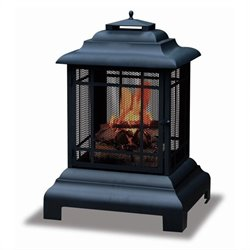 Black Two Sided Outdoor Fireplace