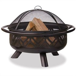 Outdoor Firebowl with Geometric Design in Oil Rubbed Bronze