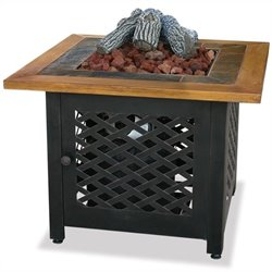 LP Gas Outdoor Firebowl with Slate and Faux Wood Mantel
