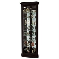Howard Miller Duane Corner Curio Cabinet in Black Satin