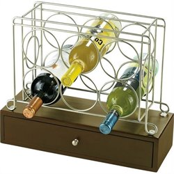 Howard Miller 6 Bottle Wine Caddy I in Black Coffee and Satin Nickle