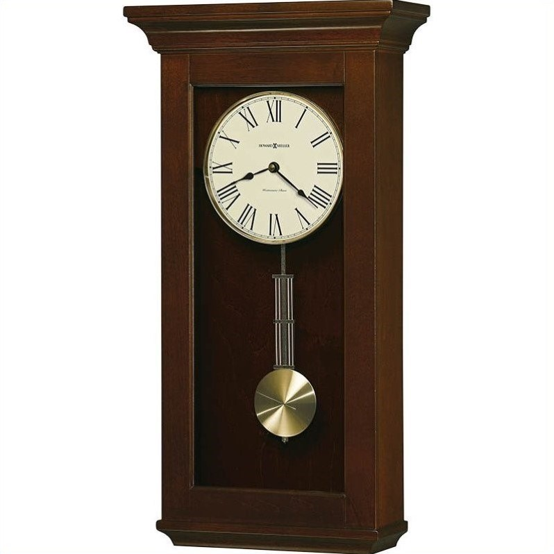 Howard Miller Continental Wood Wall Clock in Cherry Bordeaux