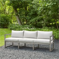 Real Flame Monaco Patio Sofa in Brushed Antique White
