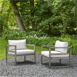 Real Flame Monaco Patio Chair in Brushed Antique White (Set of 2)