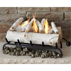 Real Flame 24 Inch Conversion Birch Log Set for Gel Fuel Fireplace