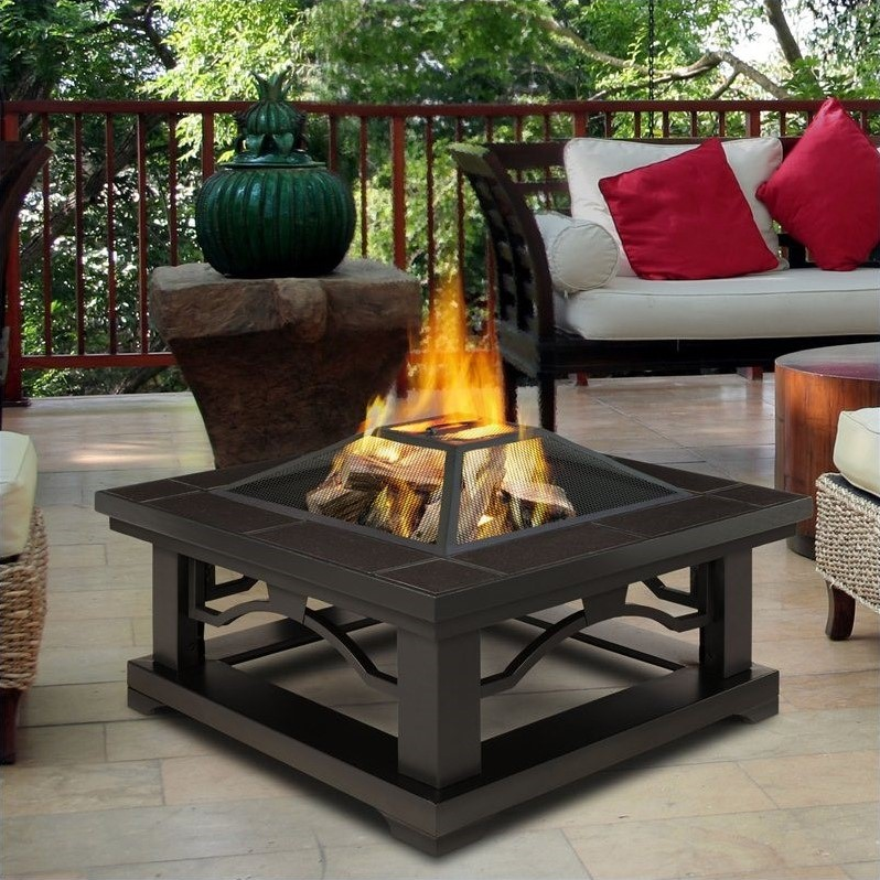Real Flame Crestone Fire Pit in Brown Tile