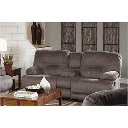 Catnapper Noble Lay Flat Reclining Fabric Loveseat in Slate