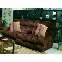 Catnapper Siesta Lay Flat Reclining Console Fabric Loveseat Chocolate
