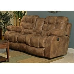 Catnapper Watson Lay Flat Reclining Console Loveseat in Almond