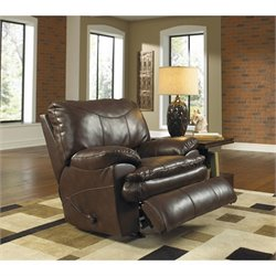 Perez Rocking Leather Recliner in Chestnut