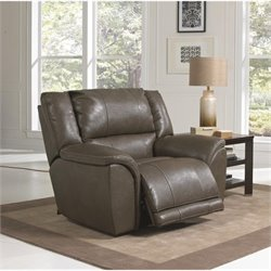 Carmine Lay Flat Leather Recliner in Smoke