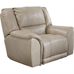 Carmine Lay Flat Leather Recliner in Pebble