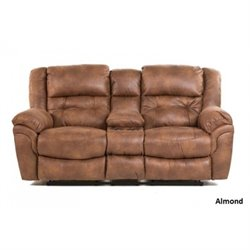 Catnapper Joyner Lay Flat Reclining Console Fabric Loveseat in Almond