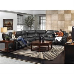 Catnapper Catalina 3 Piece Power Reclining Leather Sectional in Steel