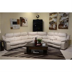 Catnapper Catalina 3 Piece Leather Reclining Sectional in White