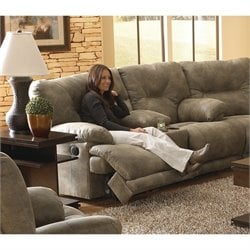 Catnapper Voyager Lay Flat Reclining Console Loveseat in Brandy