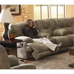 Catnapper Voyager Power Lay Flat Reclining Console Loveseat in Brandy