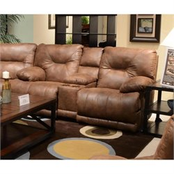 Catnapper Voyager Lay Flat Reclining Console Loveseat in Elk