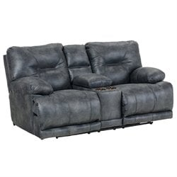 Catnapper Voyager Power Lay Flat Reclining Console Loveseat in Slate