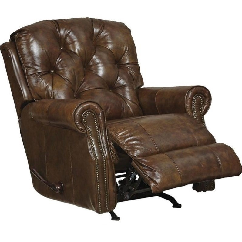 Catnapper Davidson Leather Rocker Recliner In Timber
