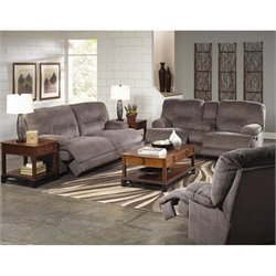 Catnapper Noble Lay Flat 3 Piece Reclining Fabric Sofa Set in Slate