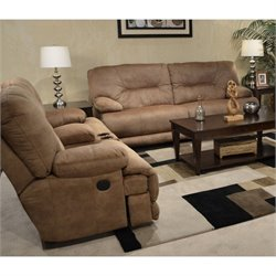 Catnapper Noble Lay Flat 2 Piece Reclining Fabric Sofa Set in Almond
