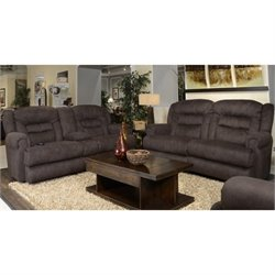 Catnapper Atlas Extra Tall 2 Piece Reclining Fabric Sofa Set in Sable