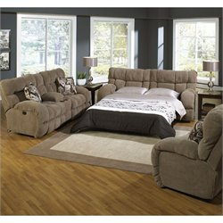 Catnapper Wintergreen 3 Piece Reclining Fabric Sofa Set in Porcini