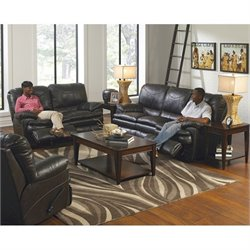 Catnapper Perez 3 Piece Reclining Leather Sofa Set in Steel
