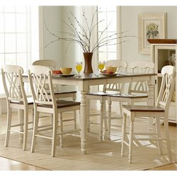 Trent Home Ohana 7 Piece Counter Height Dining Set in White and Cherry
