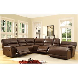 Homelegance Blythe II 6 Piece Reclining Sectional in Brown