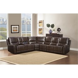 Homelegance Gerald 4 Piece Leather Reclining Sectional in Brown