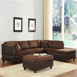 Trent Home Comfort Living Sectional Sofa with Ottoman in Brown