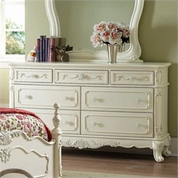Trent Home Cinderella White Double Dresser in Ecru Finish