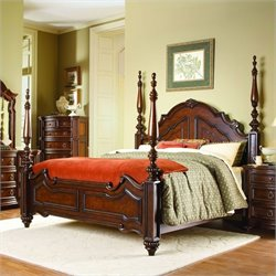 Trent Home Prenzo Queen Poster Bed in Rich Brown Finish