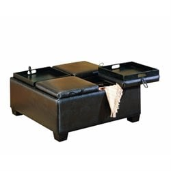 Trent Home Square Faux Leather Storage Cocktail Ottoman in Espresso