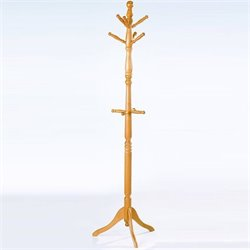 Trent Home Deluxe Oak Standing Coat Rack with Umbrella Rack
