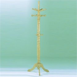 Trent Home Super Deluxe Natural Standing Coat Rack with Umbrella Rack