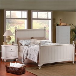 Trent Home Pottery Wood Panel Bed 3 Piece Bedroom Set in White