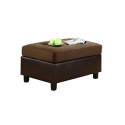 Trent Home Comfort Living Rhino Microfiber Ottoman in Chocolate Brown